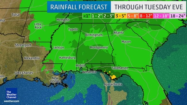 Heavy Rainfall Continues in Northern Gulf States