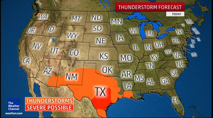 Severe Thunderstorms Possible in Gulf and Southern Plains