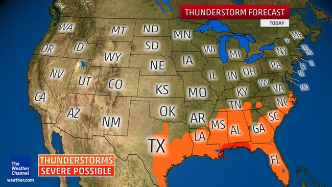 Severe Storms Predicted for Gulf Coast and Southeast