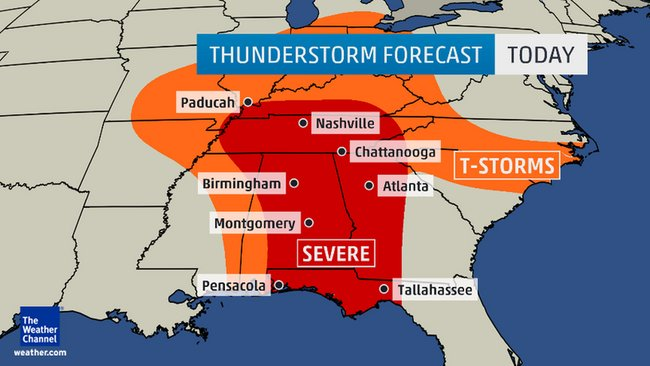 Threat of Severe Storms Continues for Gulf Coast, Southeast
