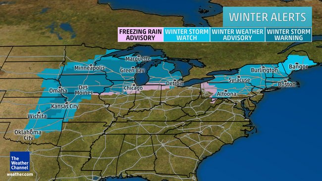 Winter Storm Goliath Predicted to Bring Snow, Ice and Strong Winds to Midwest, Northeast