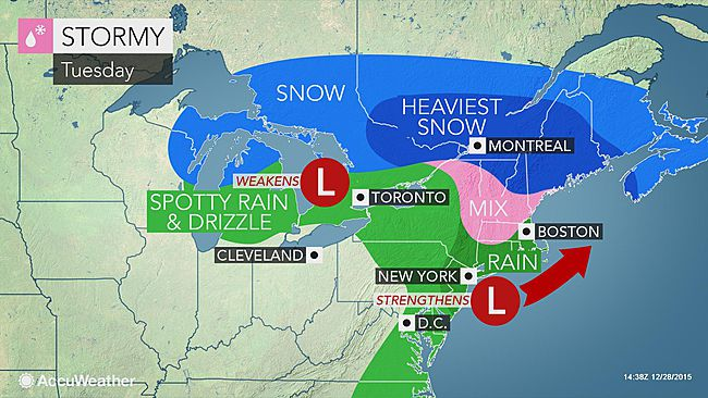 Winter Storm Goliath Predicted to deliver a Wintry Mix to the Northeast Tuesday