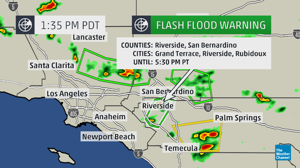 Flash Flood Warning in Effect Across Southern California