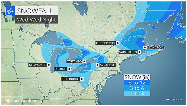 Snow, Wind to Impact Maine and Great Lakes into Wednesday Night