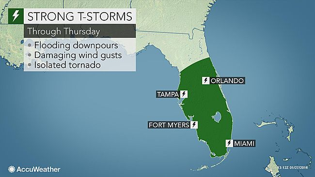 Heavy Rain, Strong Winds Forcast to Impact Florida Through Thursday