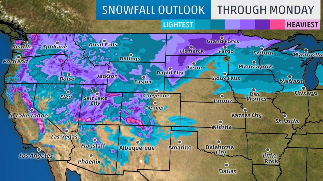 Winter storm Europa to blanket West