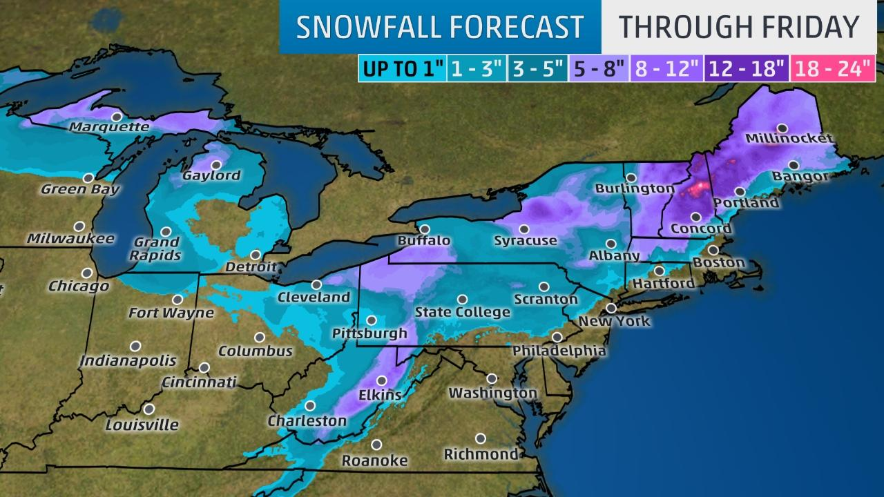 Winter storm Fortis focuses in on Northeast