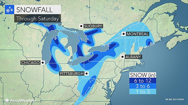 Great Lakes to see lake-effect snow through the weekend