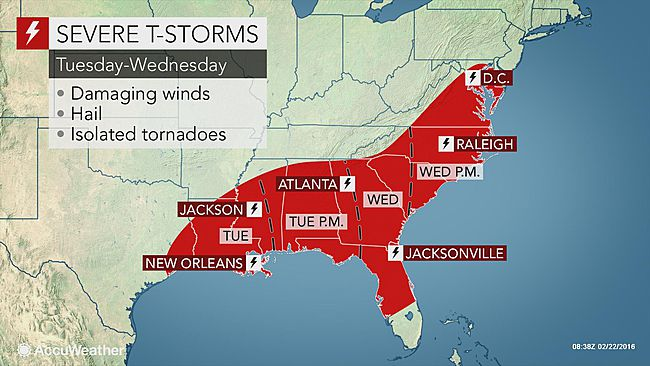 Severe thunderstorms to return to Gulf Coast and Mid-Atlantic