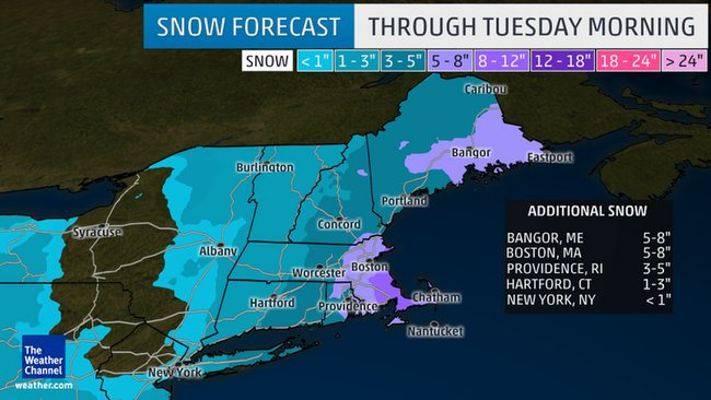 Winter storm forecast for New England, Blizzard warnings in effect for southeastern MA