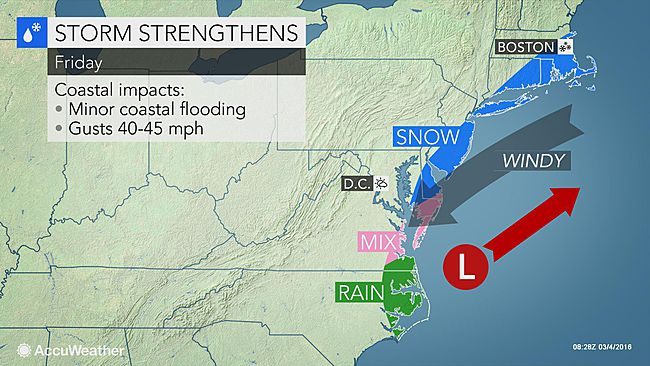 Snow and rain showers to affect Mid-Atlantic and New England coastlines