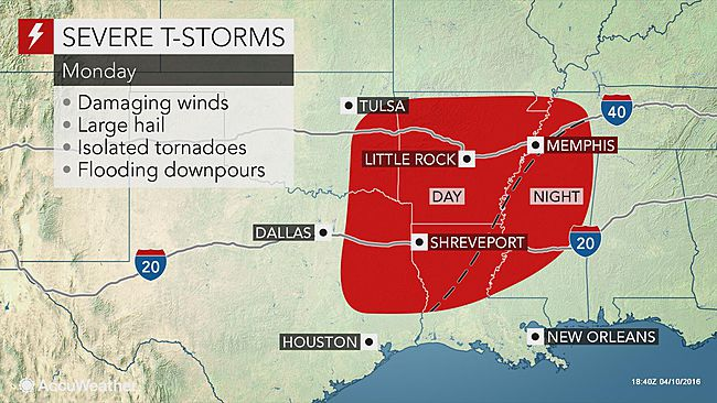 Severe storms expected for portions of South