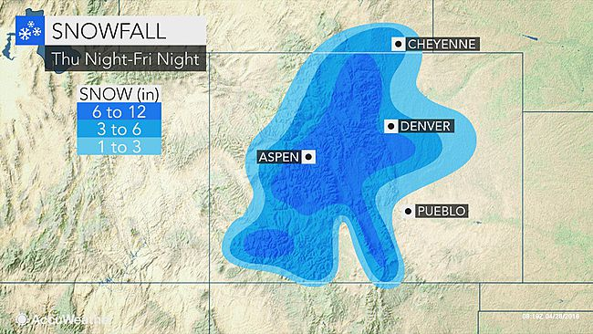Snow forecast for Rockies, including Denver metro area