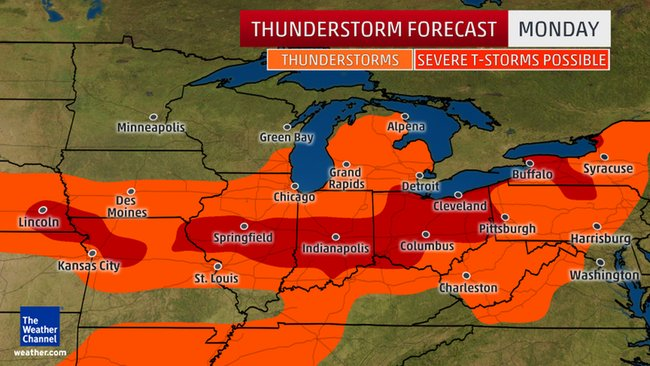 Severe storms forecast for Midwest, Mid-Atlantic and Northeast