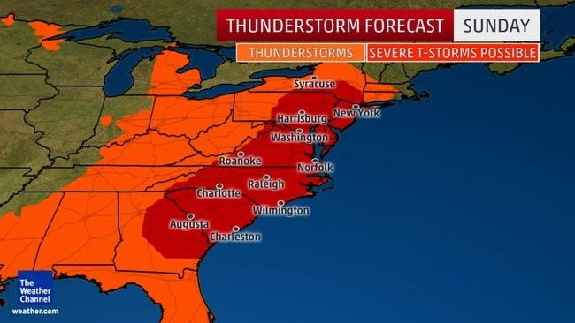 Severe Weather Expected on Sunday For Mid-Atlantic