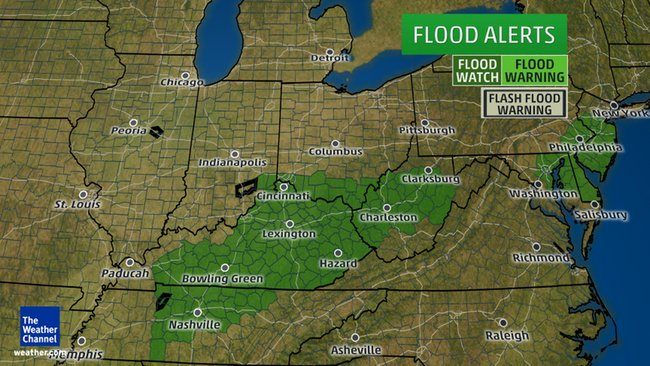 Flash floods possible from Tennessee Valley to Mid-Atlantic