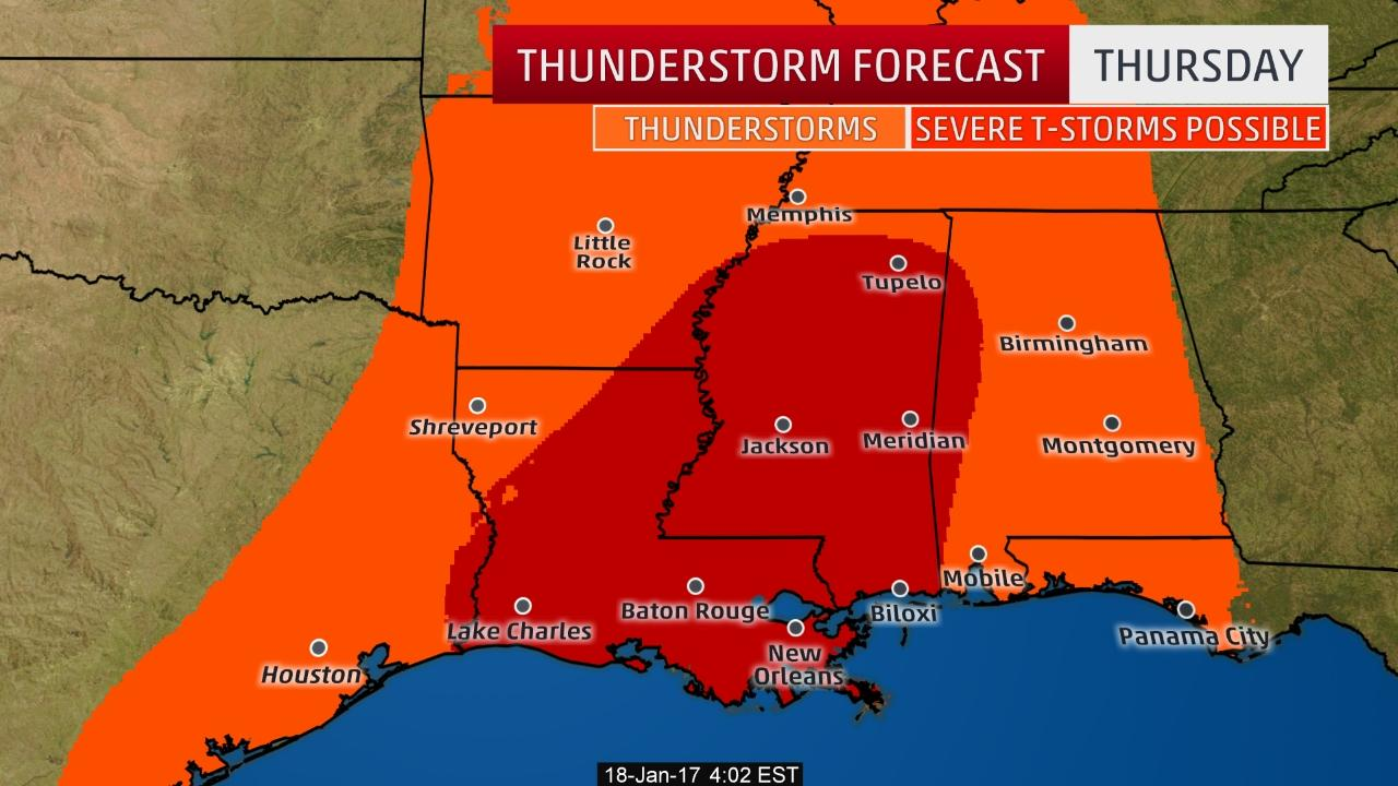 Severe thunderstorm threat through weekend in parts of South