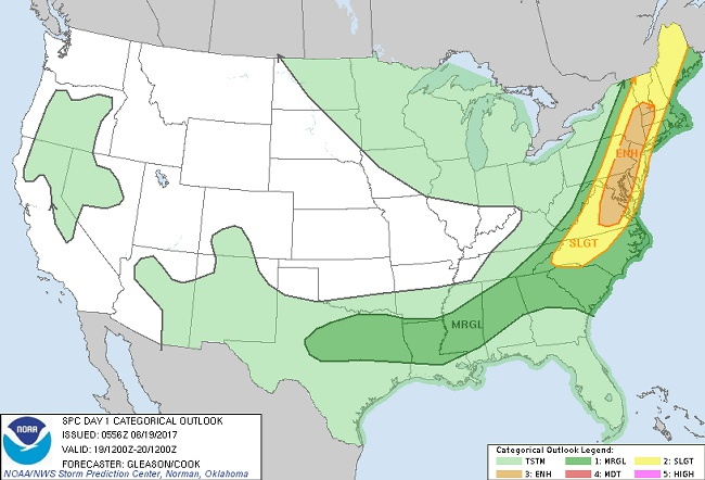 Severe storms forecast for Northeast