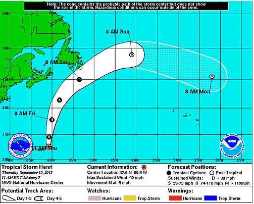 Tropical Storm Henri Poses Little Threat to the US